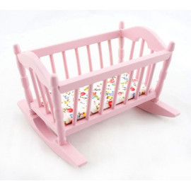 Pink Victorian Nursery Crib Cradle Dollhouse Furniture