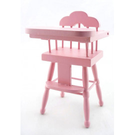 Pink Wood Baby Nursery High Chair Dollhouse Furniture