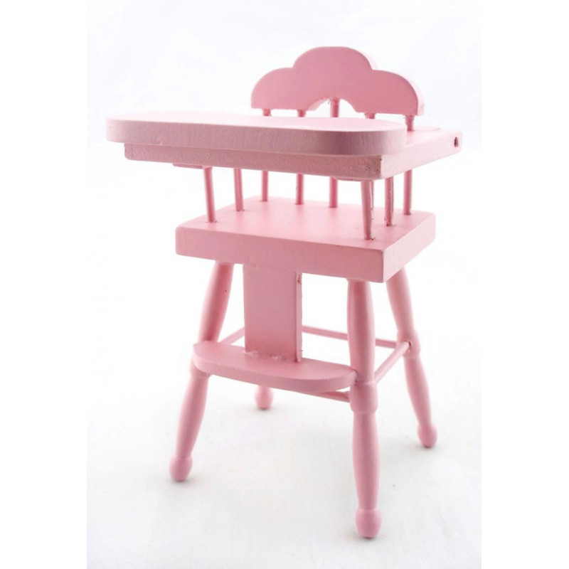 Pink wood baby nursery high chair dollhouse furniture Wooden baby doll furniture