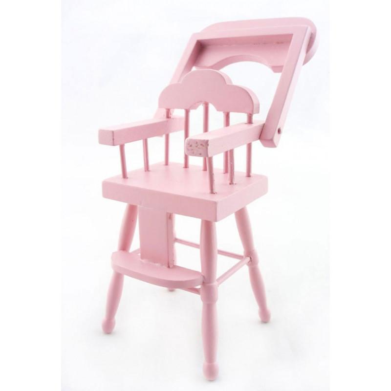 Marvelous Pink Wood Baby Nursery High Chair Dollhouse Furniture