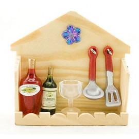 Set Kitchen Champagne Cup Wine Rare Dollhouse Miniature