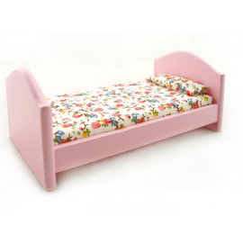 Pink Wood Nursery Single Baby Bed Dollhouse Furniture