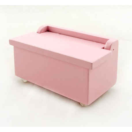 Pink Wood Nursery Storage Box Seat Dollhouse Furniture