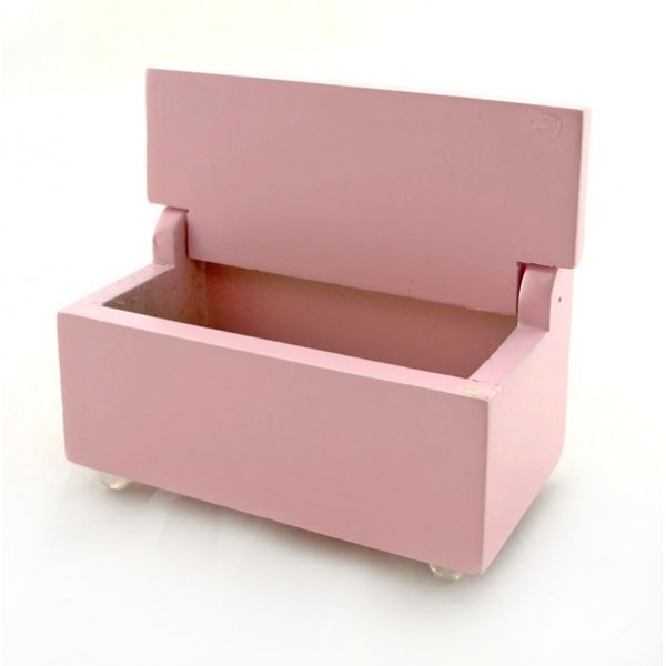 ... Furnitures > Pink Wood Nursery Storage Box Seat Dollhouse Furniture