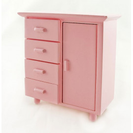 Pink Nursery Chest 5-Drawer Dresser Dollhouse Furniture