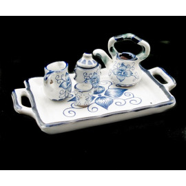 Blue Porcelain Tea Pot Kettle Set Dollhouse Miniature