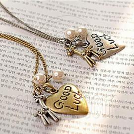 Vintage Bronze Heart Deer Good Luck Pendant Necklace