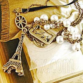 Bronze Eiffel Tower Beads Fashion Pendant Necklace