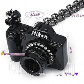 Nikon Black Metal Camera Crystal New Fashion Pendant Necklace