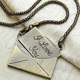 Korea Bronze I LOVE U Letter Fashion Pendant Necklace