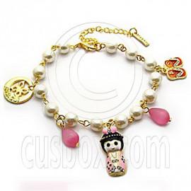 Japanese Doll Slippers Butterfly Beads Pendant Bracelet