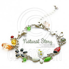Silver Red Ladybird Butterfly Natural Pendant Bracelet
