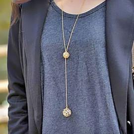 Double Ball Horseshoe Fashion Charm Pendant Necklace