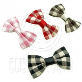 Butterfly New Bow Grid Check Hair Clip Band Hairbow 6cm