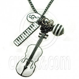Guitar Piano Keyboard Music Note Charm Pendant Necklace