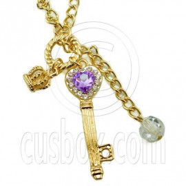 Gold Rhinestone Heart Key Crown Charm Pendant Necklace