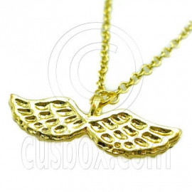 Gold Pair Bird Wings Jewelry New Charm Pendant Necklace