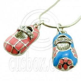 Pair Of Shoes Pink Sky Blue Rhinestone Pendant Necklace