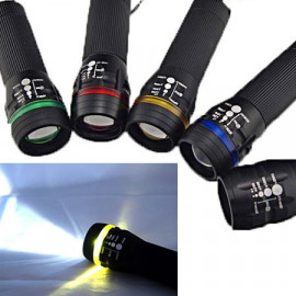 3W LED 3 Mode Zoomable Flashlight Torch (YELLOW)