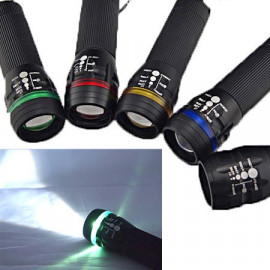 3W LED 3 Mode Zoomable Flashlight Torch (GREEN)
