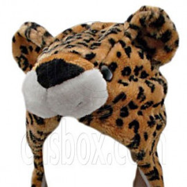 Leopard Cheetah Jaguar Brown Mascot Plush Fancy Costume Animals Fur Hat Cap