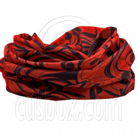 Red Black Flower Pattern Cycling Hiking Bandana Bandanna Scarf