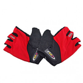 Gel Padded Palm Half Finger Cycling Bike Gloves RED
