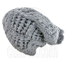 Plain Wool Beanie with Diamond Pattern Double Layer (GRAY)