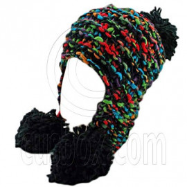 Color Wooly Pop Pom Beanie with Earflaps (BLACK BRAID POM)