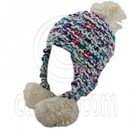 Color Wooly Pop Pom Beanie with Earflaps (WHITE BRAID POM)
