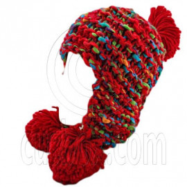 Color Wooly Pop Pom Beanie with Earflaps (RED BRAID POM)