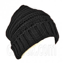 Plain Beanie with Mini Stripe Pattern Unisex Winter Hat BLACK