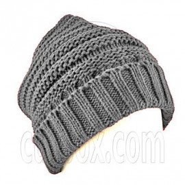 Plain Beanie with Mini Stripe Pattern Unisex Winter Hat GRAY GREY