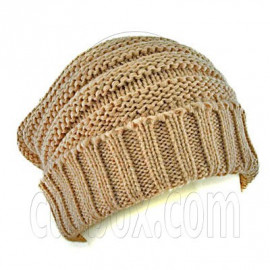 Plain Beanie with Mini Stripe Pattern Unisex Winter Hat BROWN