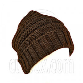 Plain Beanie with Mini Stripe Pattern Unisex Winter Hat DARK BROWN