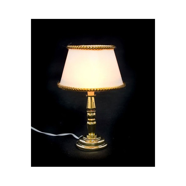 Gold base shade 12v desk table lamp dollhouse miniature for 12v table lamps for boats