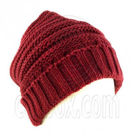 Plain Beanie with Mini Stripe Pattern Unisex Winter Hat RED