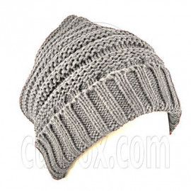 Plain Beanie with Mini Stripe Pattern Unisex Winter Hat LIGHT GRAY GREY