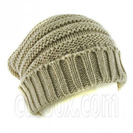 Plain Beanie with Mini Stripe Pattern Unisex Winter Hat LIGHT BROWN