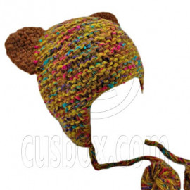 Colorful Beanie with Lovely Ears Shape & Earflaps Braids Poms (BROWN)