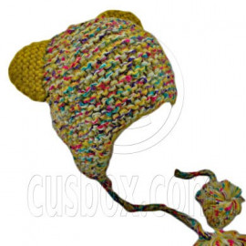 Colorful Beanie with Lovely Ears Shape & Earflaps Braids Poms (YELLOW)