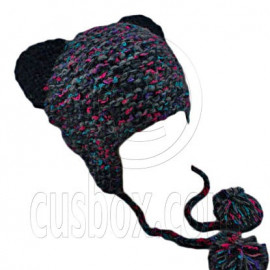 Colorful Beanie with Lovely Ears Shape & Earflaps Braids Poms (BLACK)