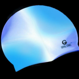 Silicone Swim Cap (BLUE WHITE N2)