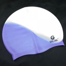 Silicone Swim Cap (BLUE WHITE N1)