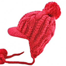 Plain Wooly Beanie with Earflaps Braids Poms (CHERRY RED / CERISE)
