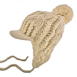 Plain Wooly Beanie with Earflaps Braids Poms (LIGHT BROWN)