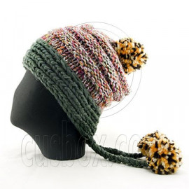 Colored Beanie w/ Back Braids Poms Winter Hat NEW NWT GREEN