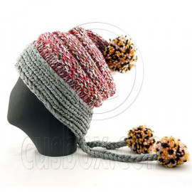 Colored Beanie w/ Back Braids Poms Winter Hat NEW NWT DARK GRAY
