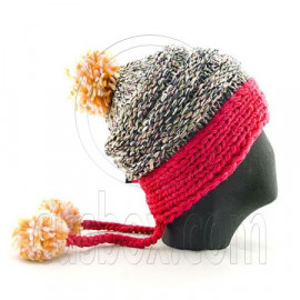 Colored Beanie w/ Back Braids Poms Winter Hat NEW NWT HOT PINK