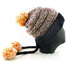 Colored Beanie w/ Back Braids Poms Winter Hat NEW NWT BLACK